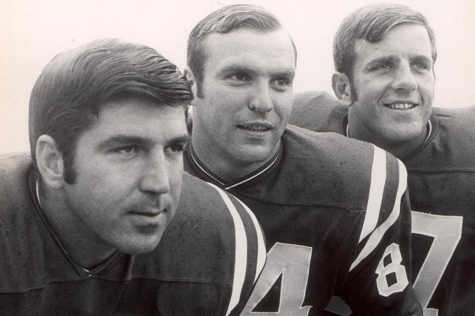 July 18, 1969: Pats receivers (from left) Jim Whalen, Art Graham, and Barry Gallup all hailed from Boston College.